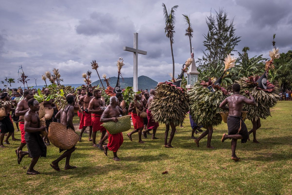 Tubuans lead the way during a ceremony acknowledging Christianity's origins in East New Britain