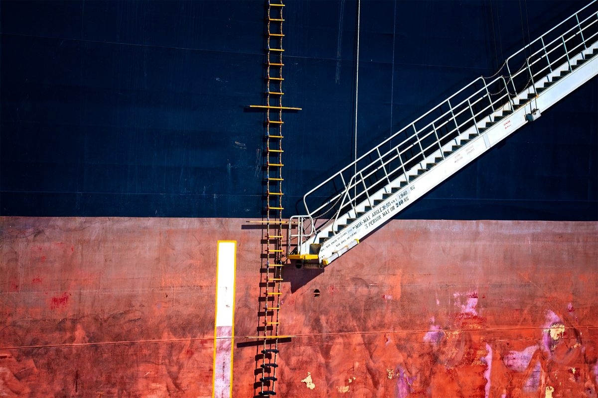 ladder on the side of a ship