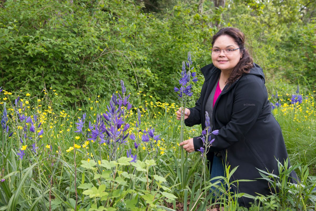 Cheryl Bryce, an ethnobotanist and leader in the Lekwungen Nation with camas