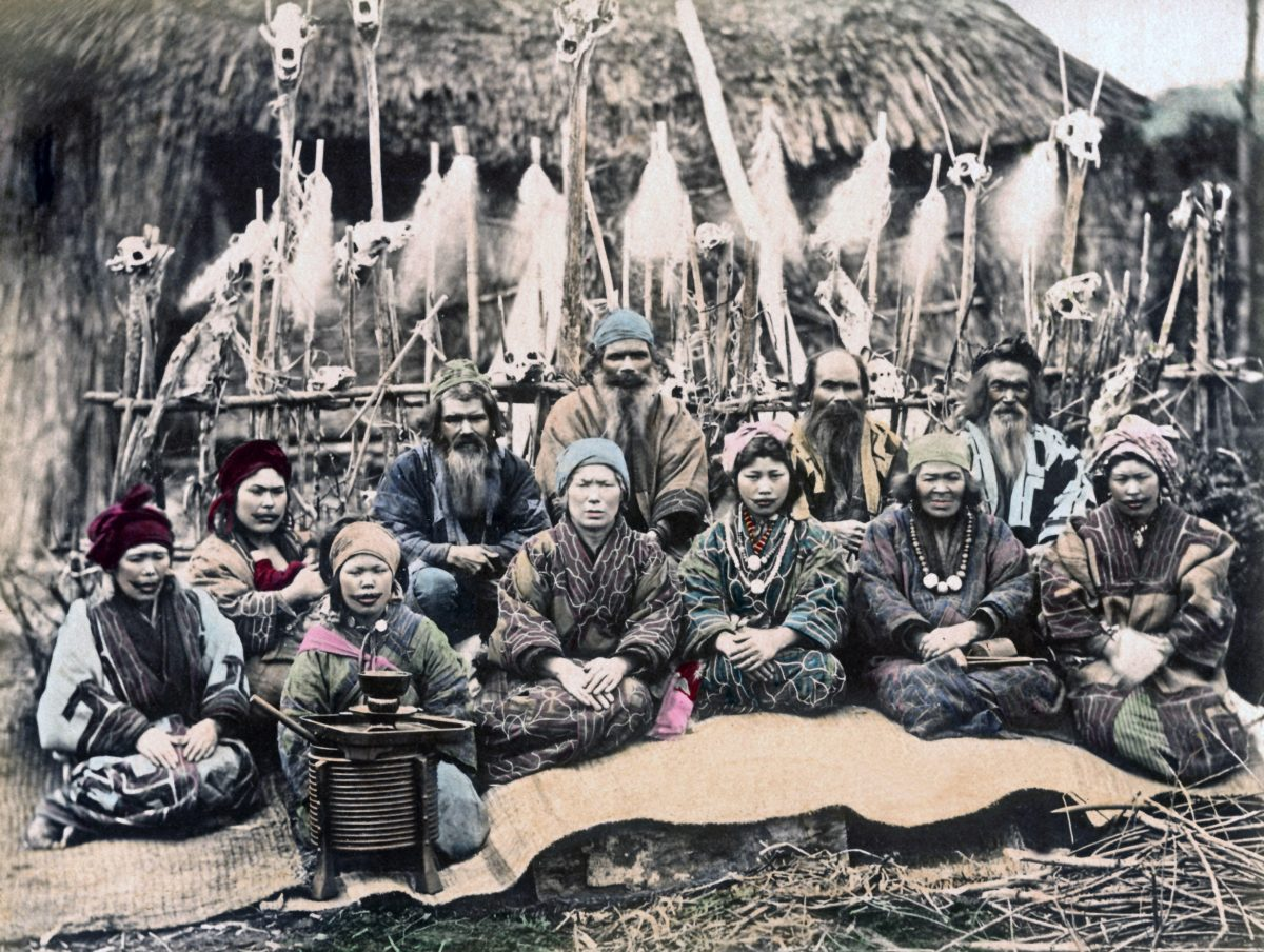 This photo was taken sometime in the 1880s and shows a group of Ainu people at their village in Hokkaido. Photo by Chronicle/Alamy Stock Photo