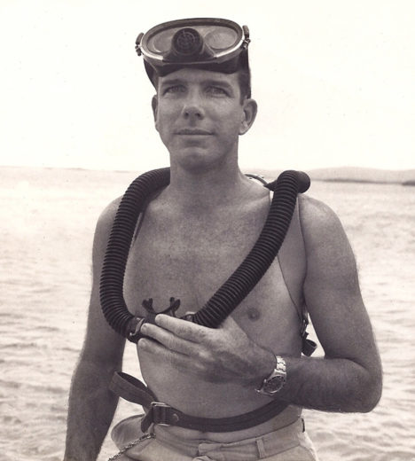 Jack Randall with his circa 1963 dive gear. Photo courtesy of Jack Randall