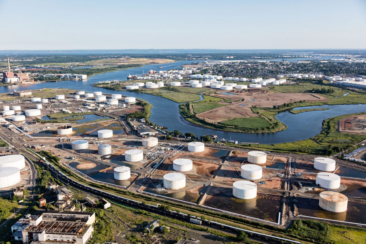 petrochemical storage tanks near Elizabeth, New Jersey