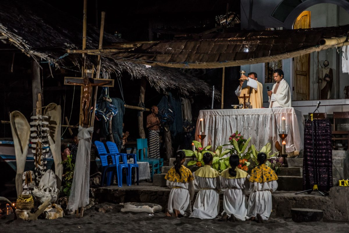 mass in the village of Lamalera, Indonesia