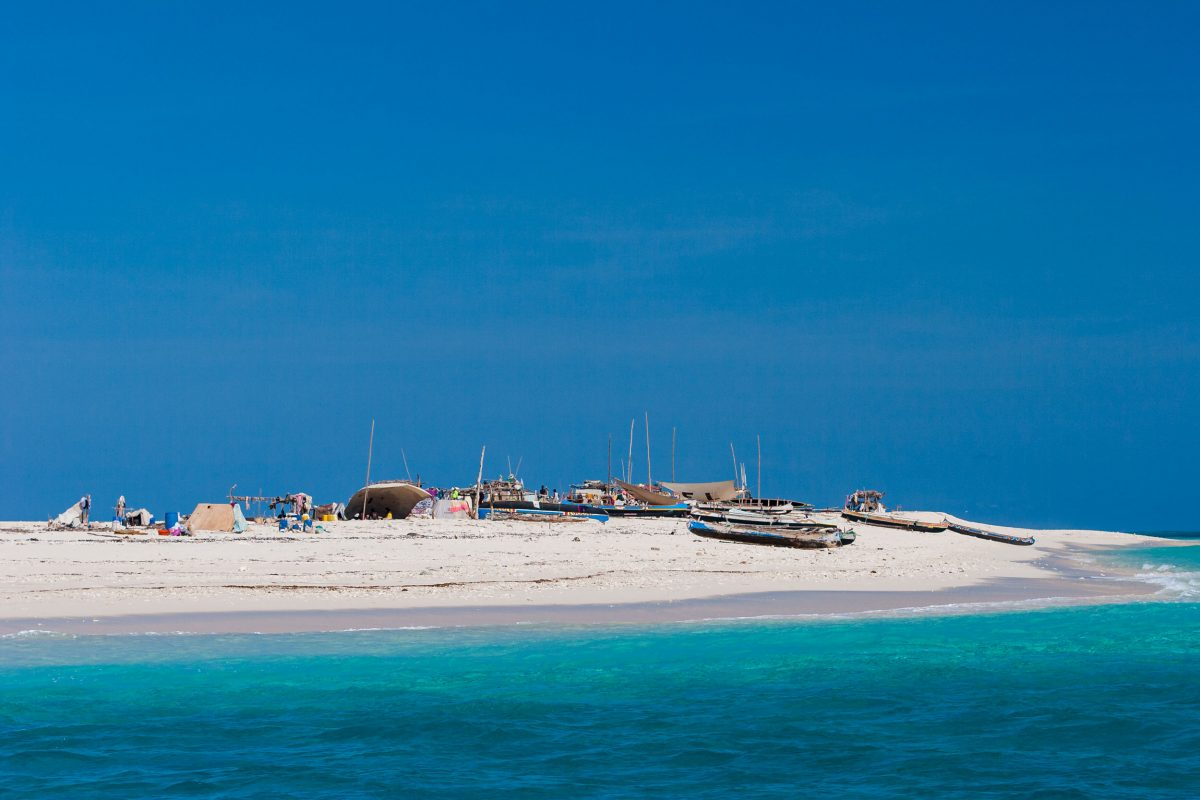 Migrant fishers camp on a sand cay about 25 kilometers off Madagascar's west coast in the Mozambique Channel.