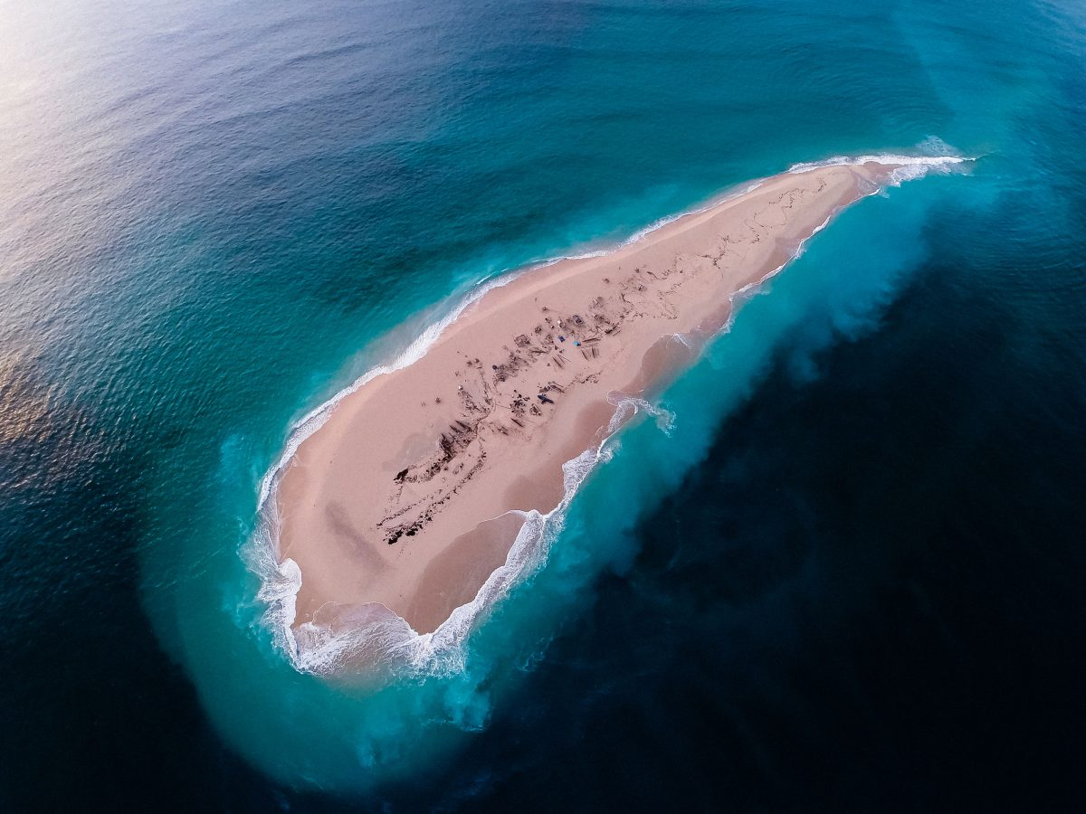 Aerial view of a migrant fishing camp in the Barren Isles