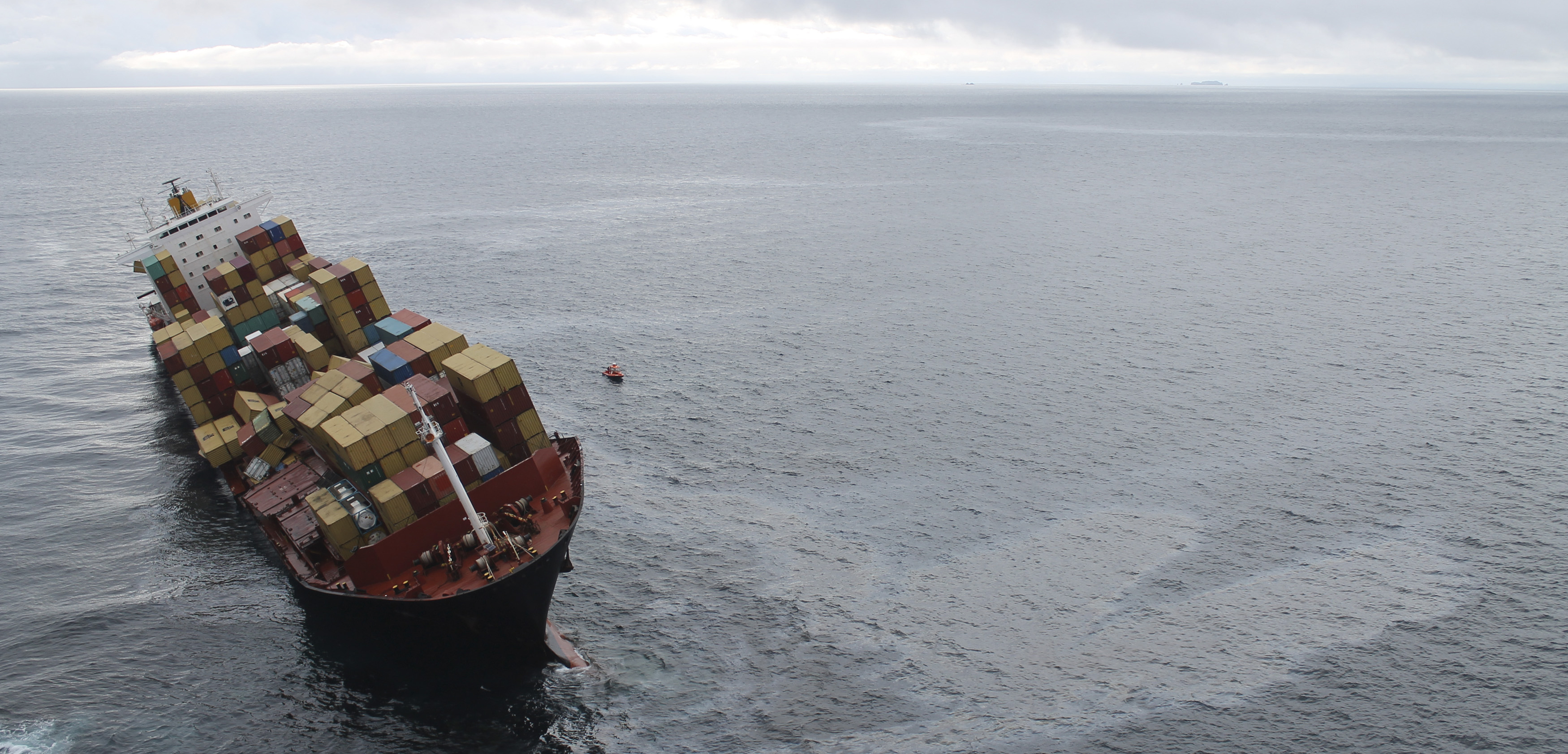 The container ship Rena spilled 350 tonnes of oil into the water off New Zealand after it ran aground on the Astrolabe reef in 2011. Photo by HO/Reuters/Corbis