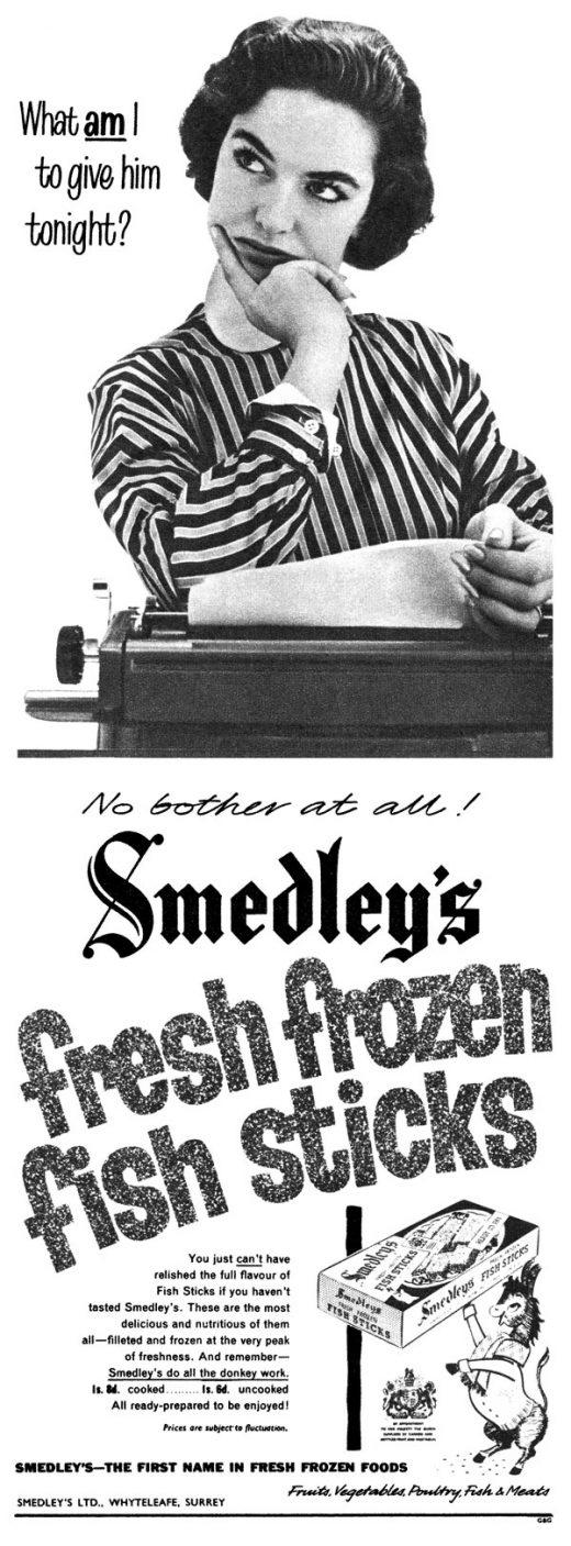 1957 British advertisement for Smedley's fresh frozen fish sticks