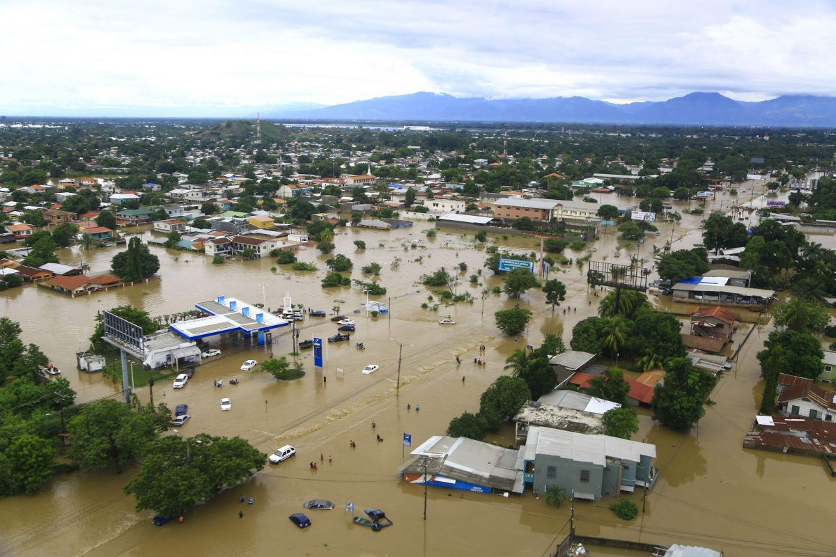 Aerial view of flooding in La Lima, Honduras after Hurricane Eta