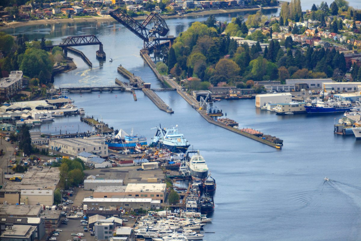 Aerial photo of the Hiram M. Chittenden Locks or Ballard Locks, Seattle