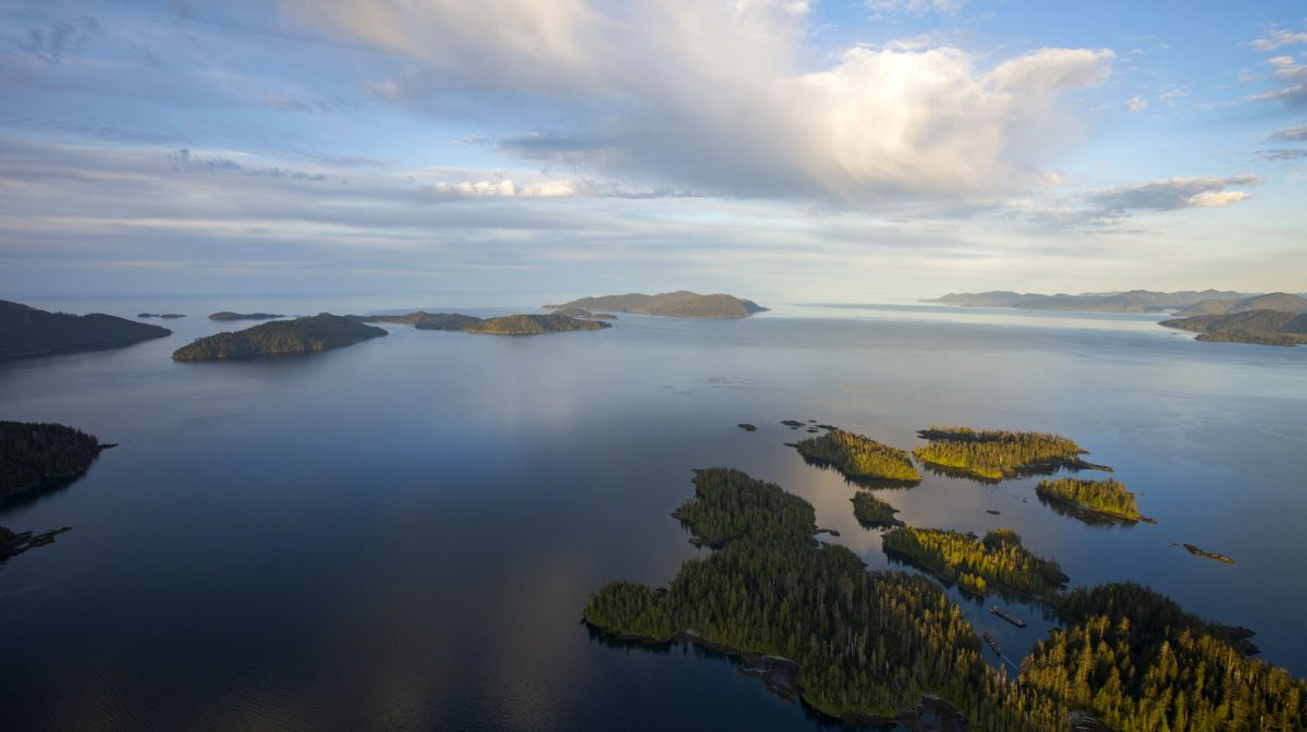 aerial photo of islands in Haida Gwaii