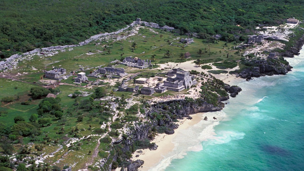 aerial photo of the Maya ruins at Tulum