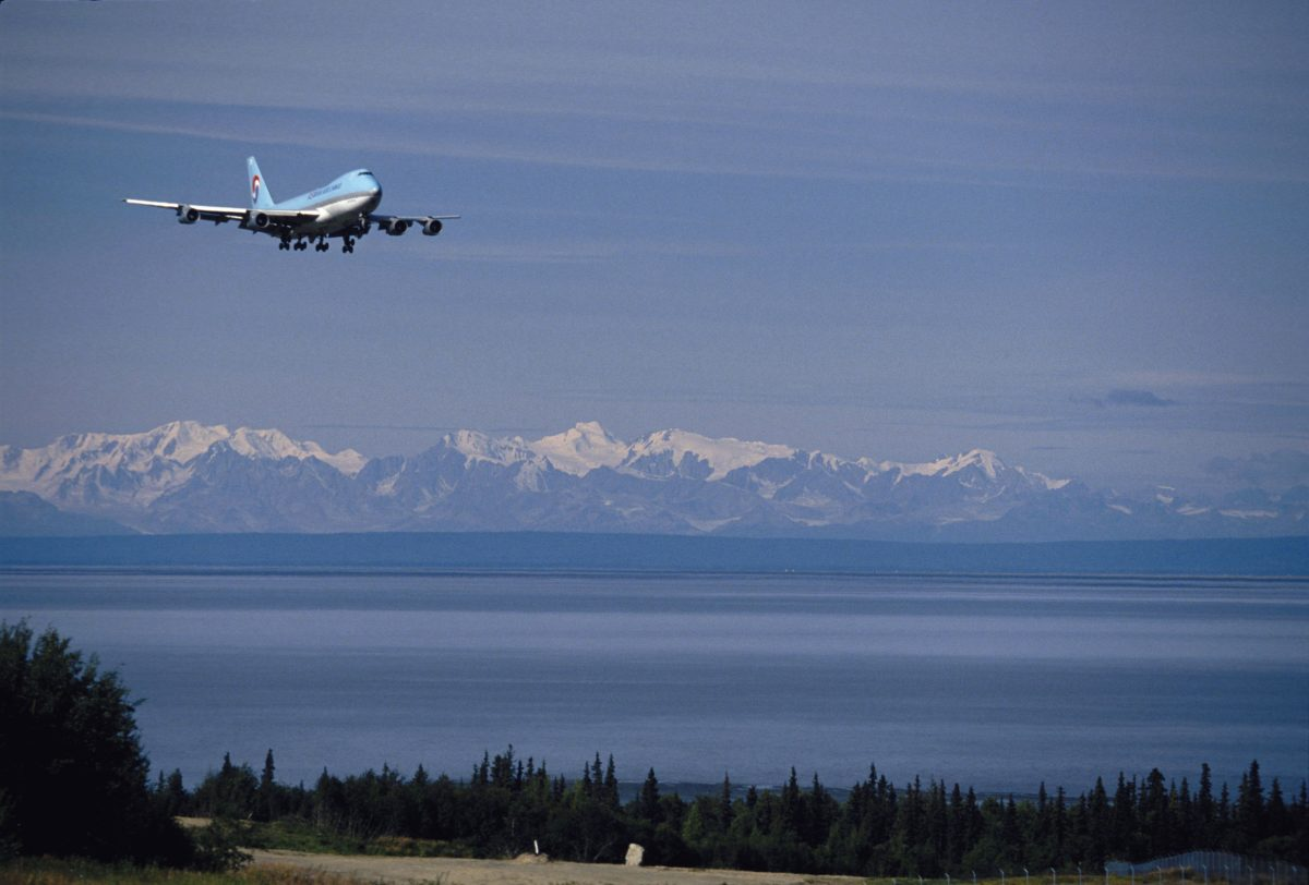 Korean Cargo Jet on approach to Anchorage International Airport