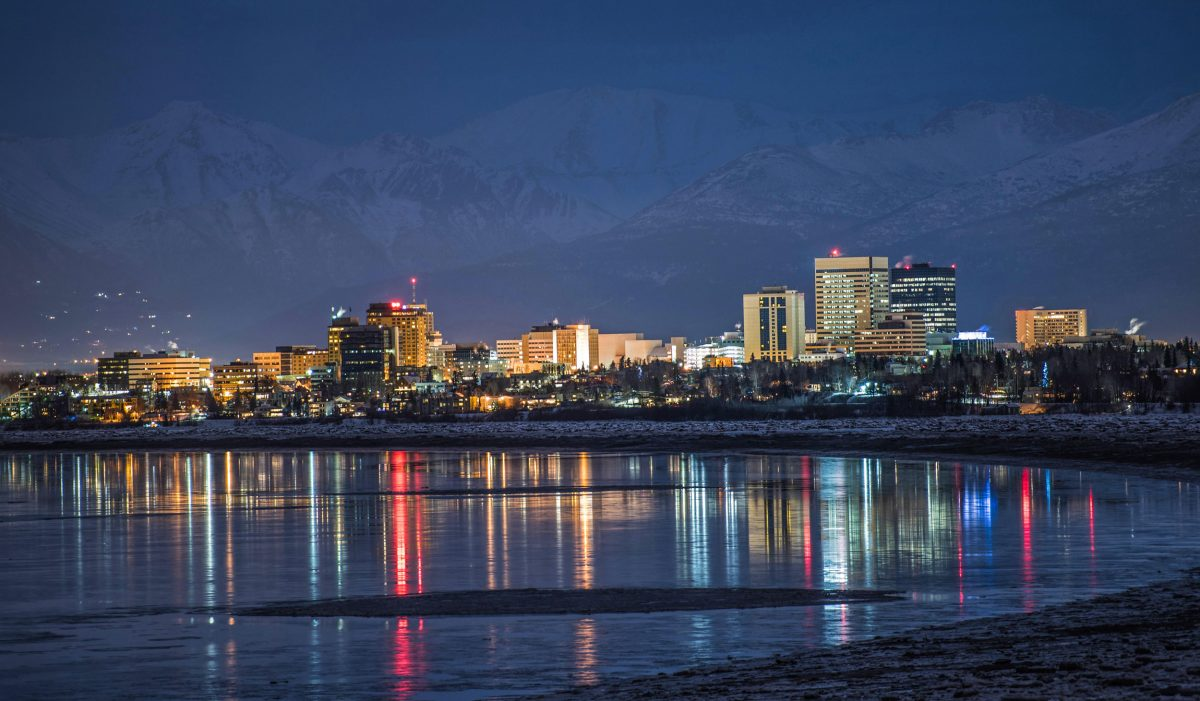 Anchorage skyline with Cook Inlet reflection