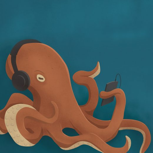 Octopus with an ipod
