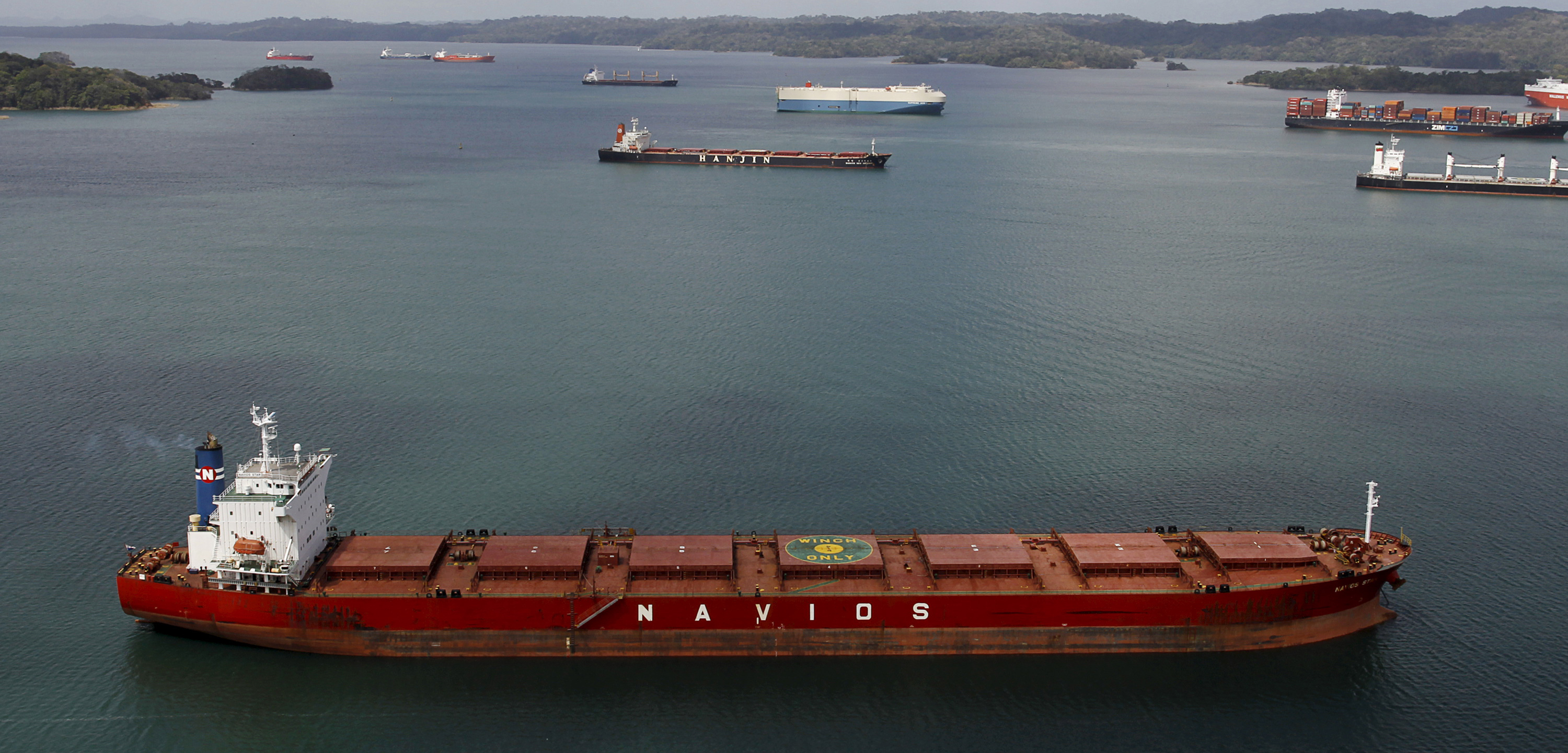 Cargo shipping traffic in the Panama Canal. Photo by Carlos Jasso/Reuters/Corbis