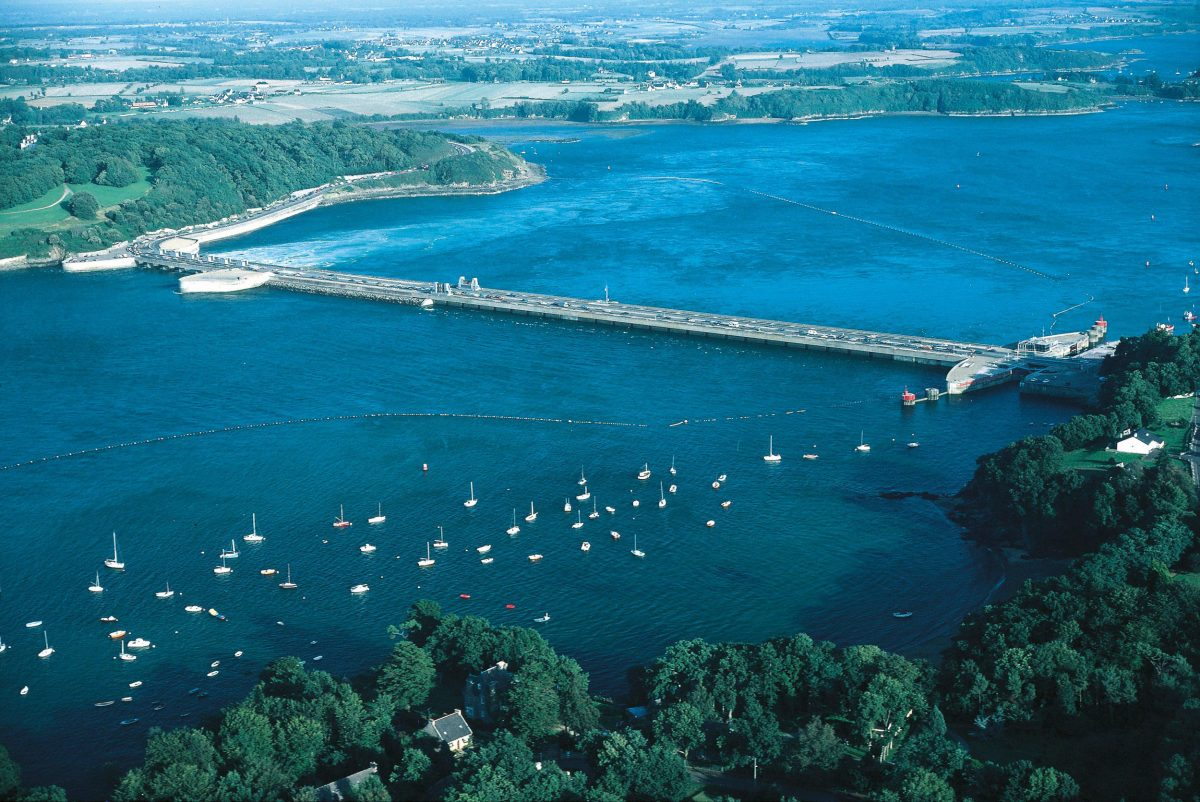 A tidal barrage scheme along La Rance in Brittany, France, has been providing some electricity to nearby communities since 1966. Photo by Universal Images Group North America LLC/DeAgostini/Alamy Stock Photo