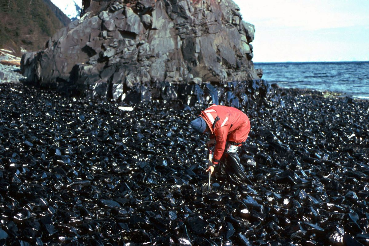 worker cleaning beach after Exxon Valdez oil spill