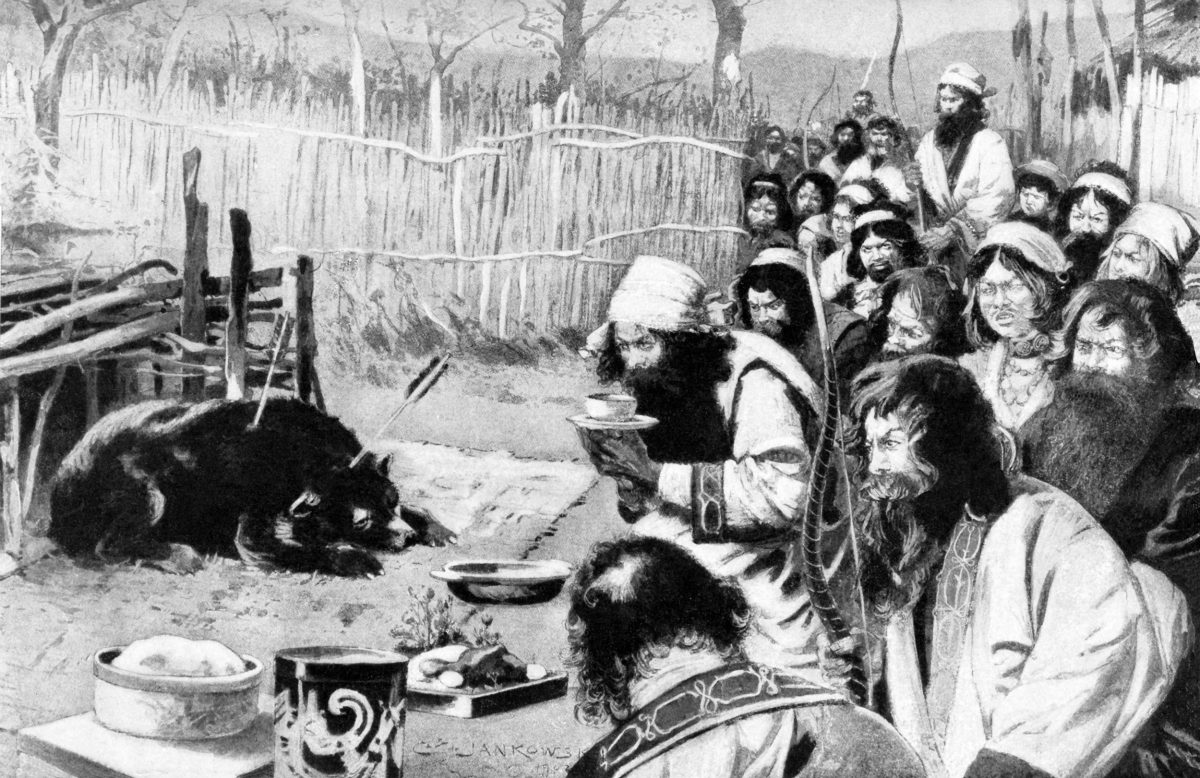This 1901 illustration shows an Ainu iyomante. The iyomante fascinated Japanese and Europeans alike. Photo by Ivy Close Images/Alamy Stock Photo