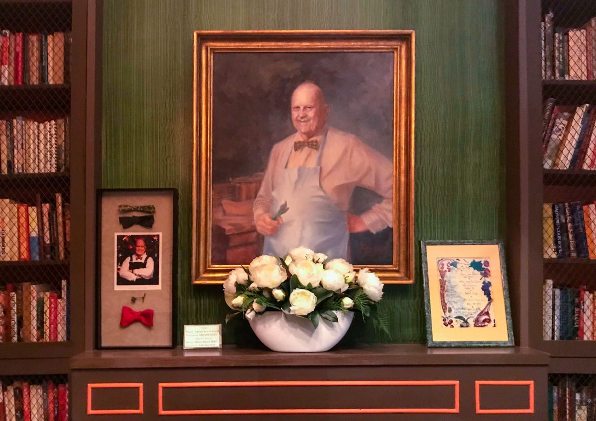 portrait of James Beard in the the James Beard Foundation dining room