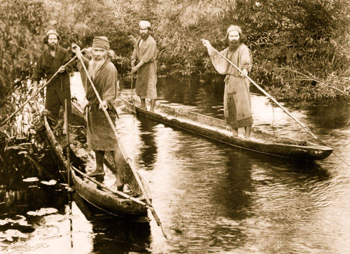 The Ainu fished salmon and trout on rivers using gaff-like spears. They headed to sea in large, sophisticated canoes for tuna, swordfish, sunfish, and marine mammals—fur seals, sea lions, and whales. Photo by The Protected Art Archive/Alamy Stock Photo