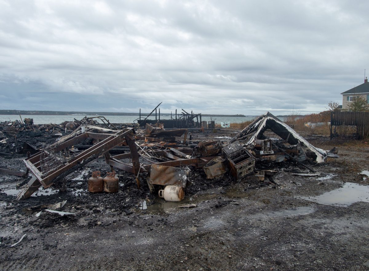 Debris from a burnt out fish plant