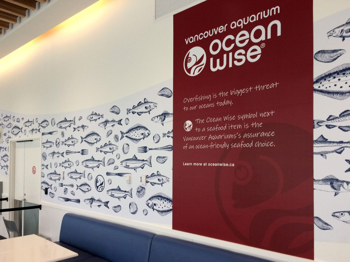 The café at the Vancouver Aquarium is a billboard for the Ocean Wise program. Can you spot the logo among the fish and forks? Photo by Raina Delisle
