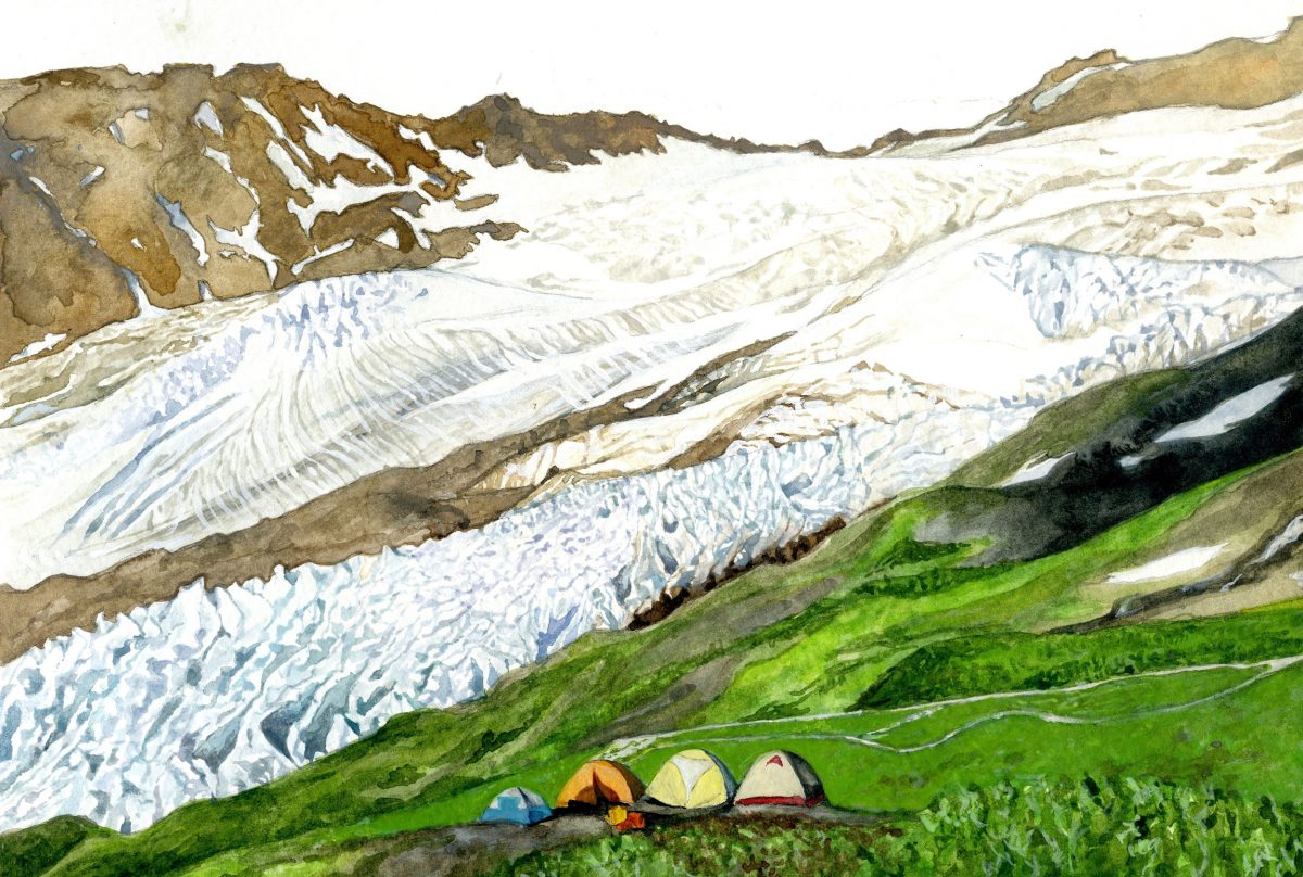 watercolor painting by Jill Pelto of a camp next to a glacier