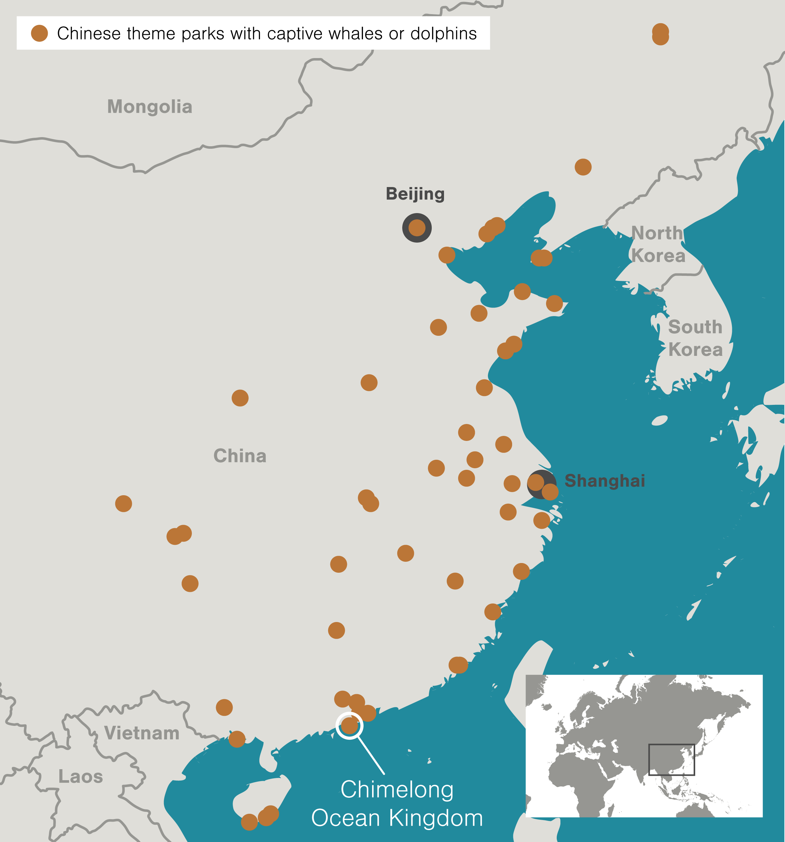 map showing Chinese theme parks with captive whales or dolphins