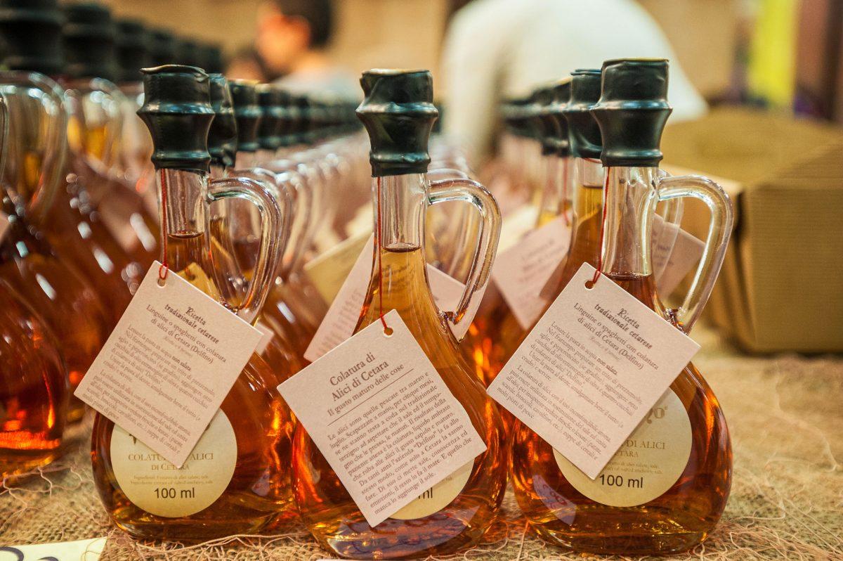 Bottles of colatura