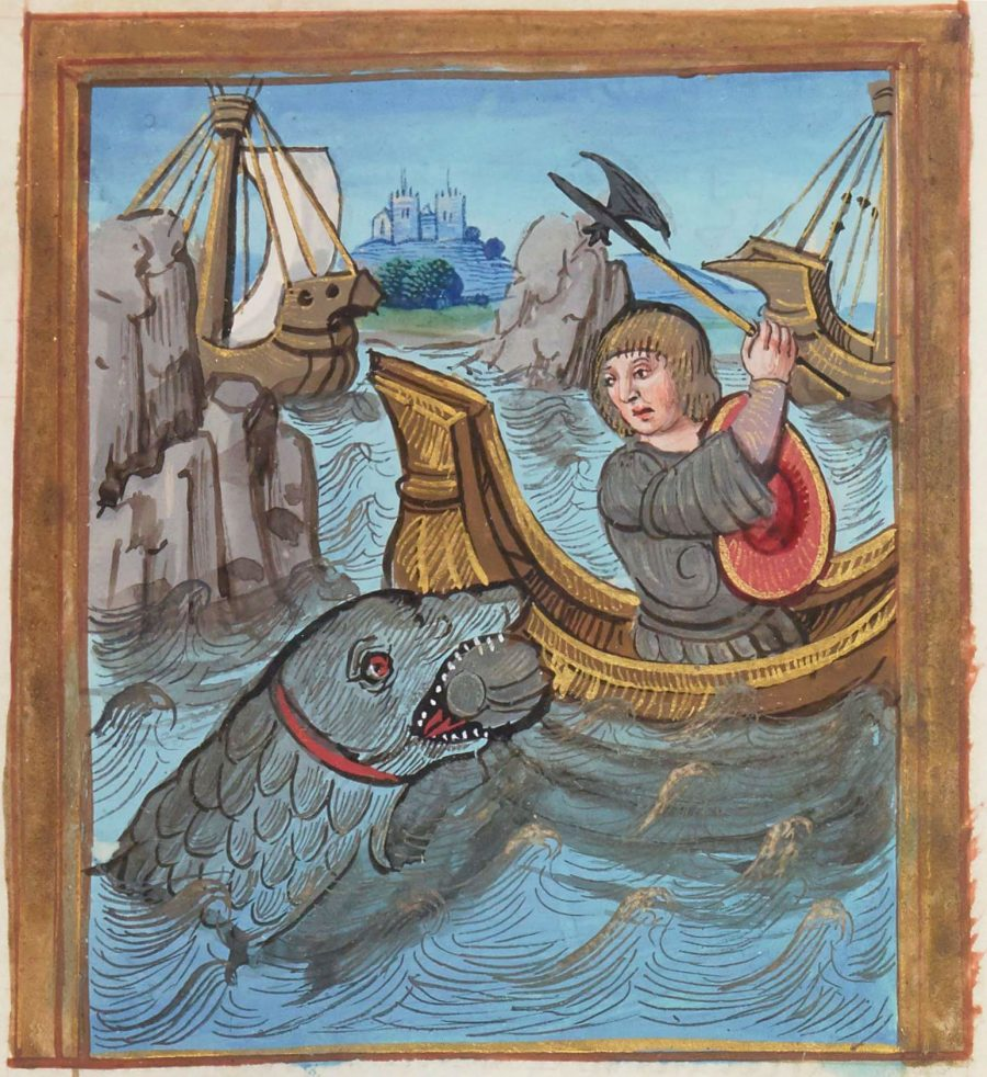 An illustration on parchment from the 16th-century epic poem History and True Novel of the Duke of Lyon de Bourges shows the story's hero fighting off a shark. Photo by Bibliothèque National de France