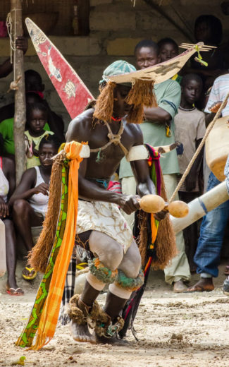 With a sawfish mask on his head, a dancer performs in a ceremony in the Bijagós archipelago in Guinea-Bissau. In many traditional cultures along the West African coast, sawfish are symbols of courage and strength. Photo by Simon Wearne