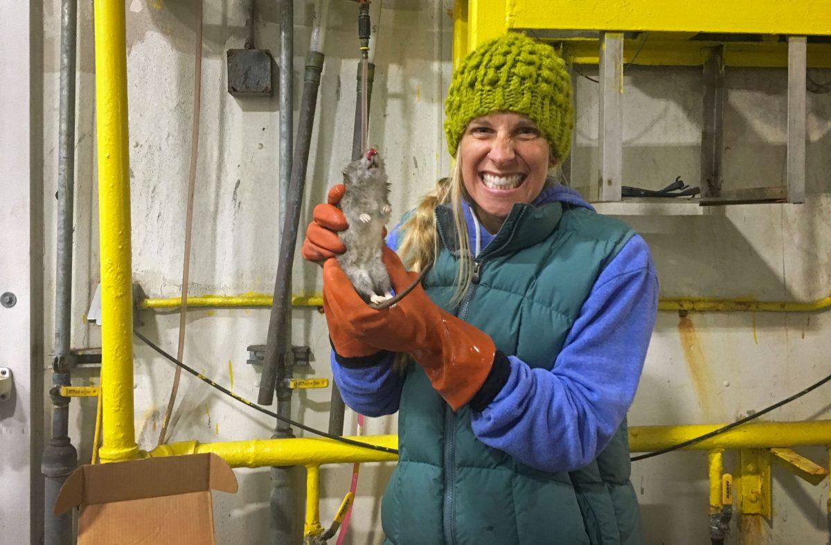Lauren Divine holding dead rat, Saint Paul, Alaska