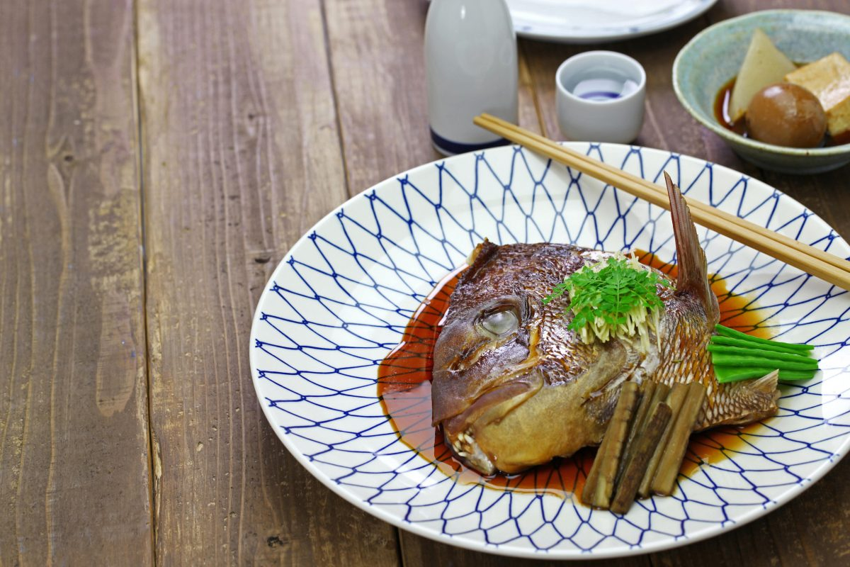 simmered sea bream head, tai no kabutoni