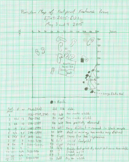 Duncan McLaren's field notes show the position of each of the newly found human footprints on Calvert Island. Image courtesy of Duncan McLaren