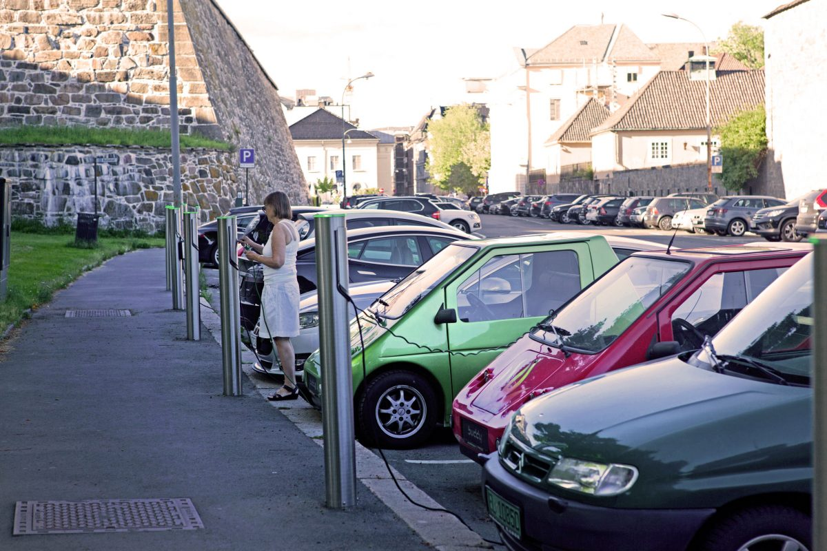 electric cars parked in Oslo, Norway