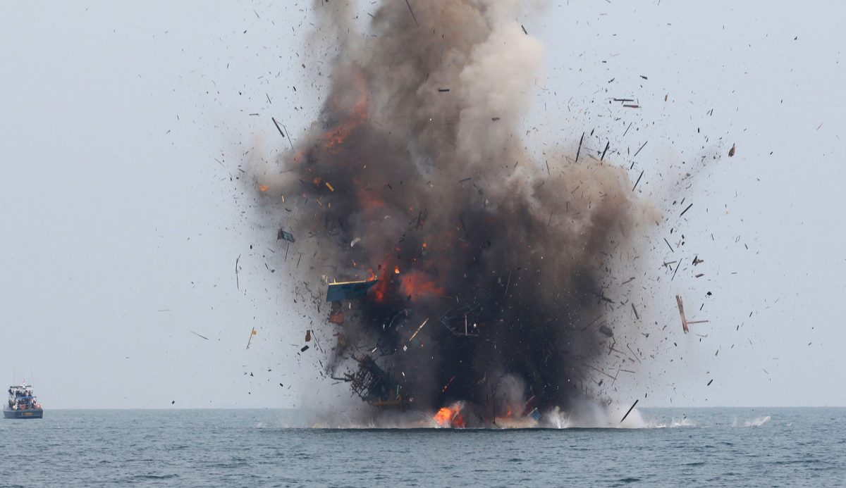 exploding fishing vessel
