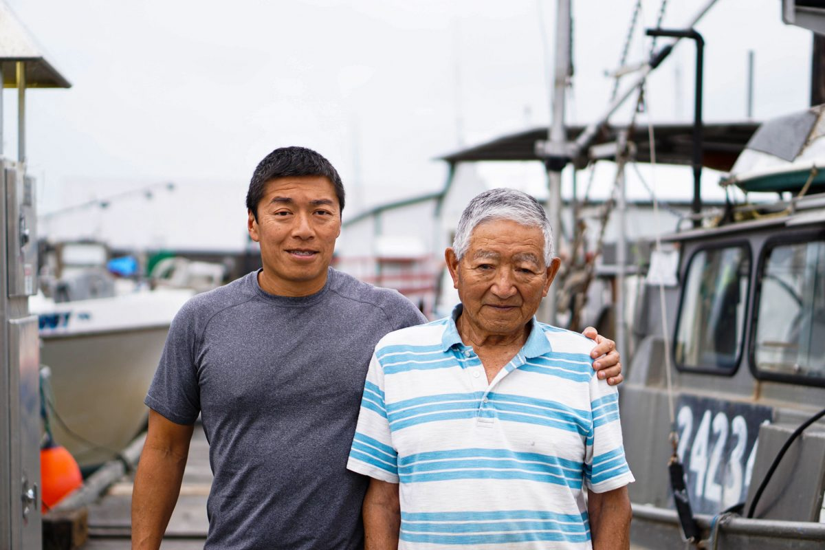 Dereck and Satoshi at the wharf in Steveston. Photo by Braela Kwan
