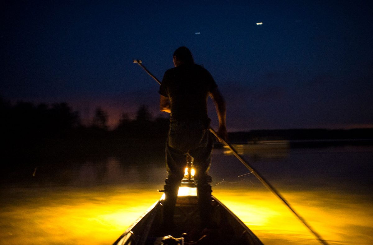 Kerry Prosper eel fishing at night