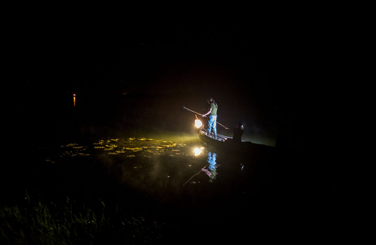 Kerry Prosper fishing for American eel at night