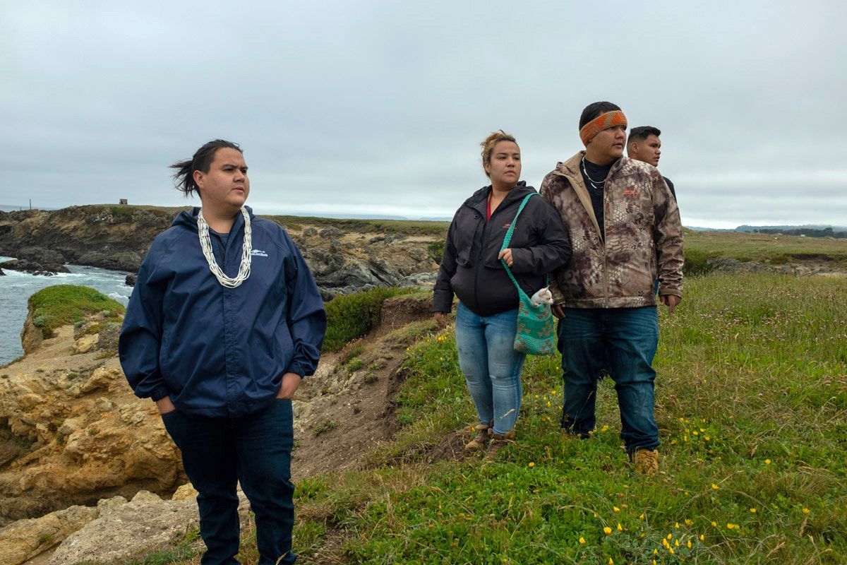 Lena Belle Gensaw, left center, with her cousin, Sammy Gensaw, right center, and other members of Ancestral Guard. Photo by Rian Dundon
