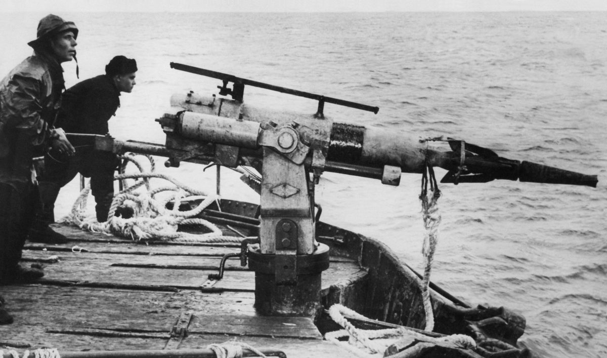 Russian whalers at harpoon gun in the 1960s