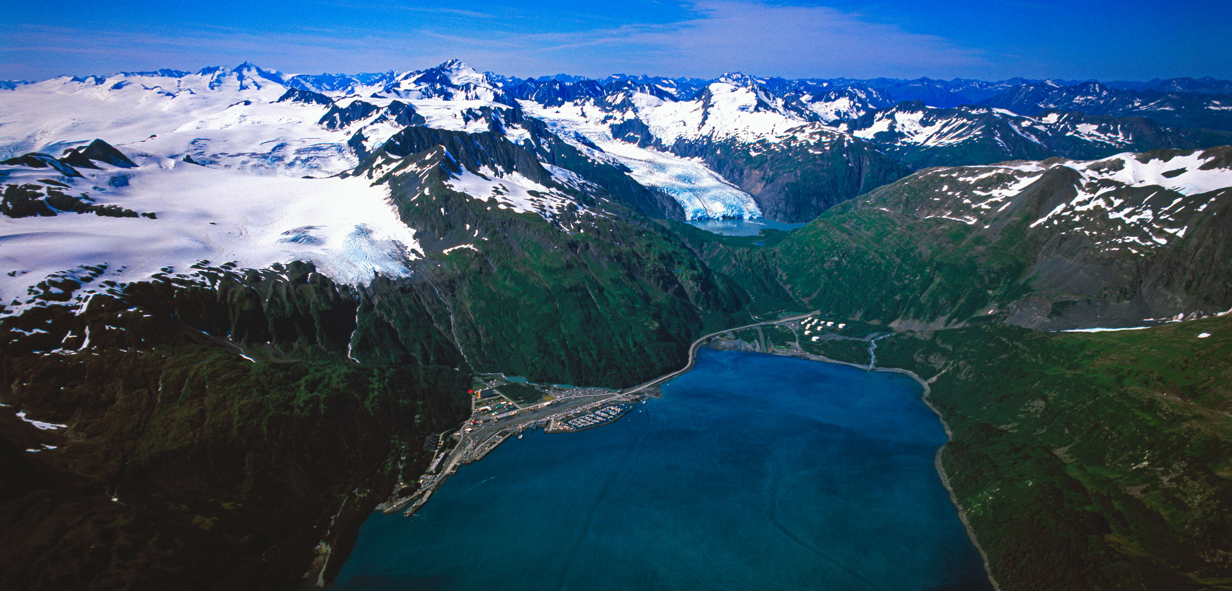 aerial view of Whittier, Alaska
