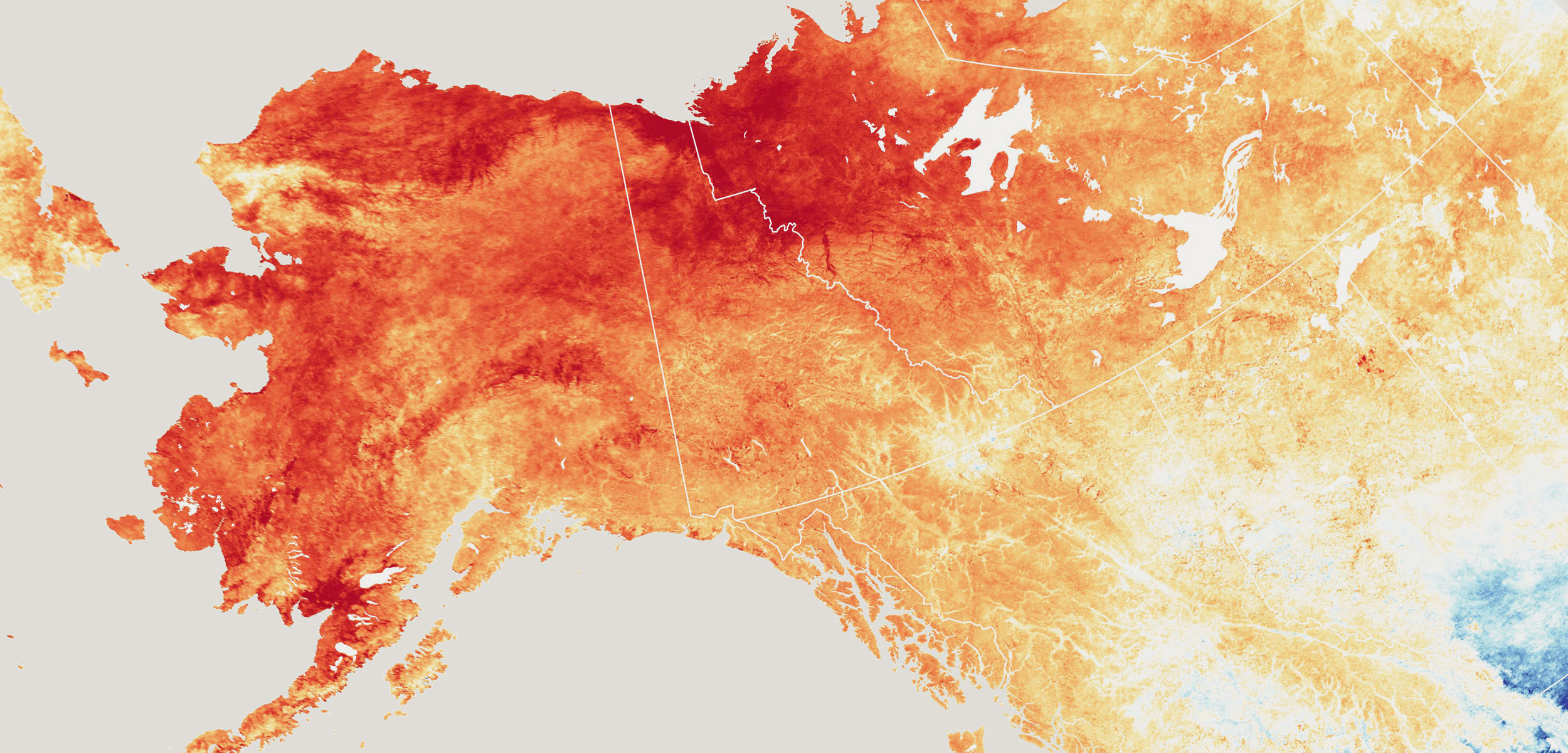 map showing temperature variation in Alaska