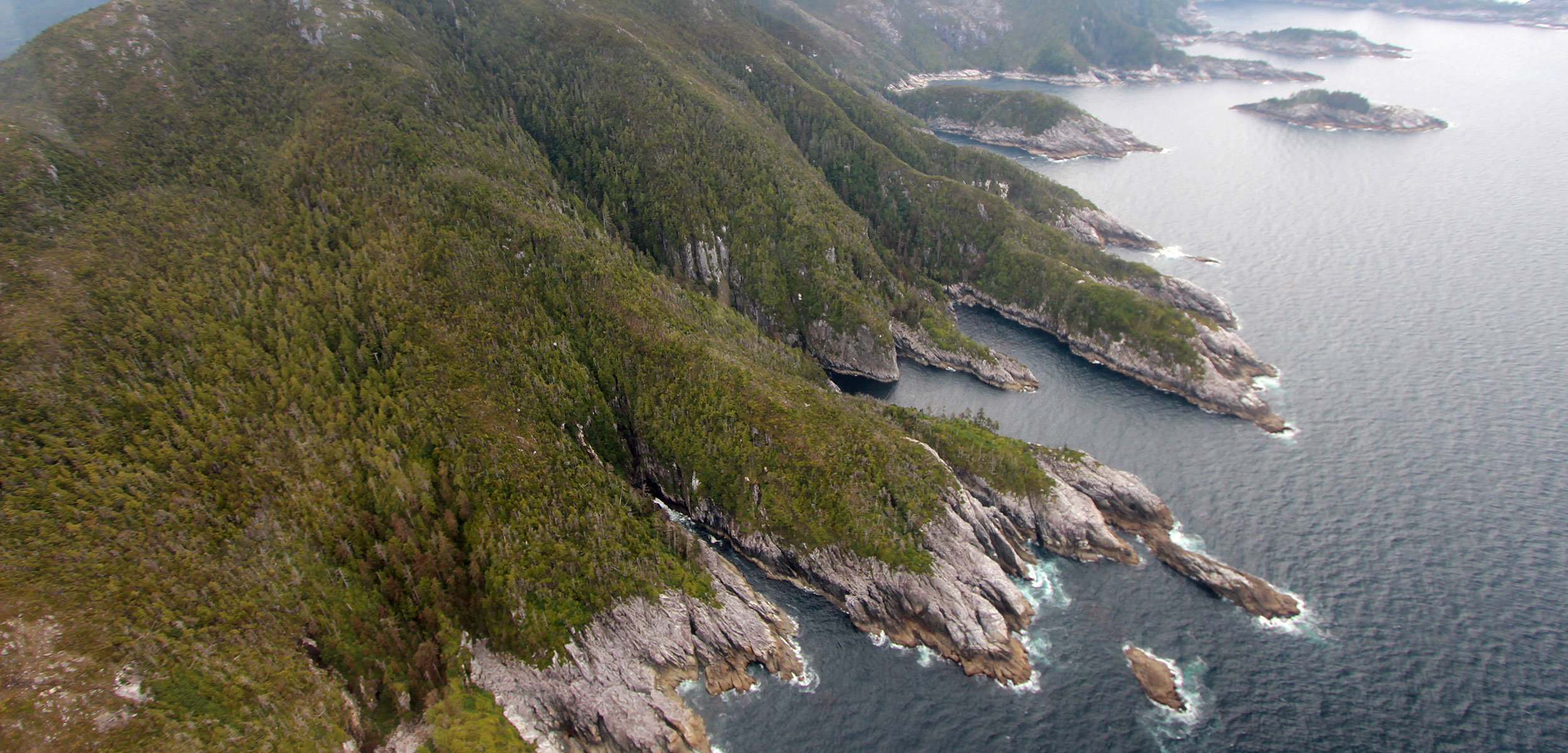 aerial view of Alaska coast