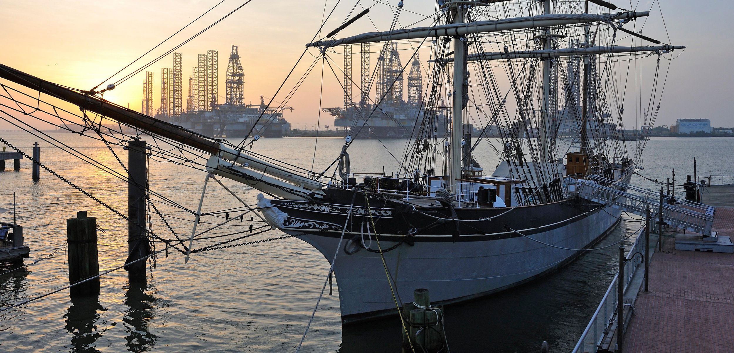 Tall ship Elissa moored in Port Galveston, Texas