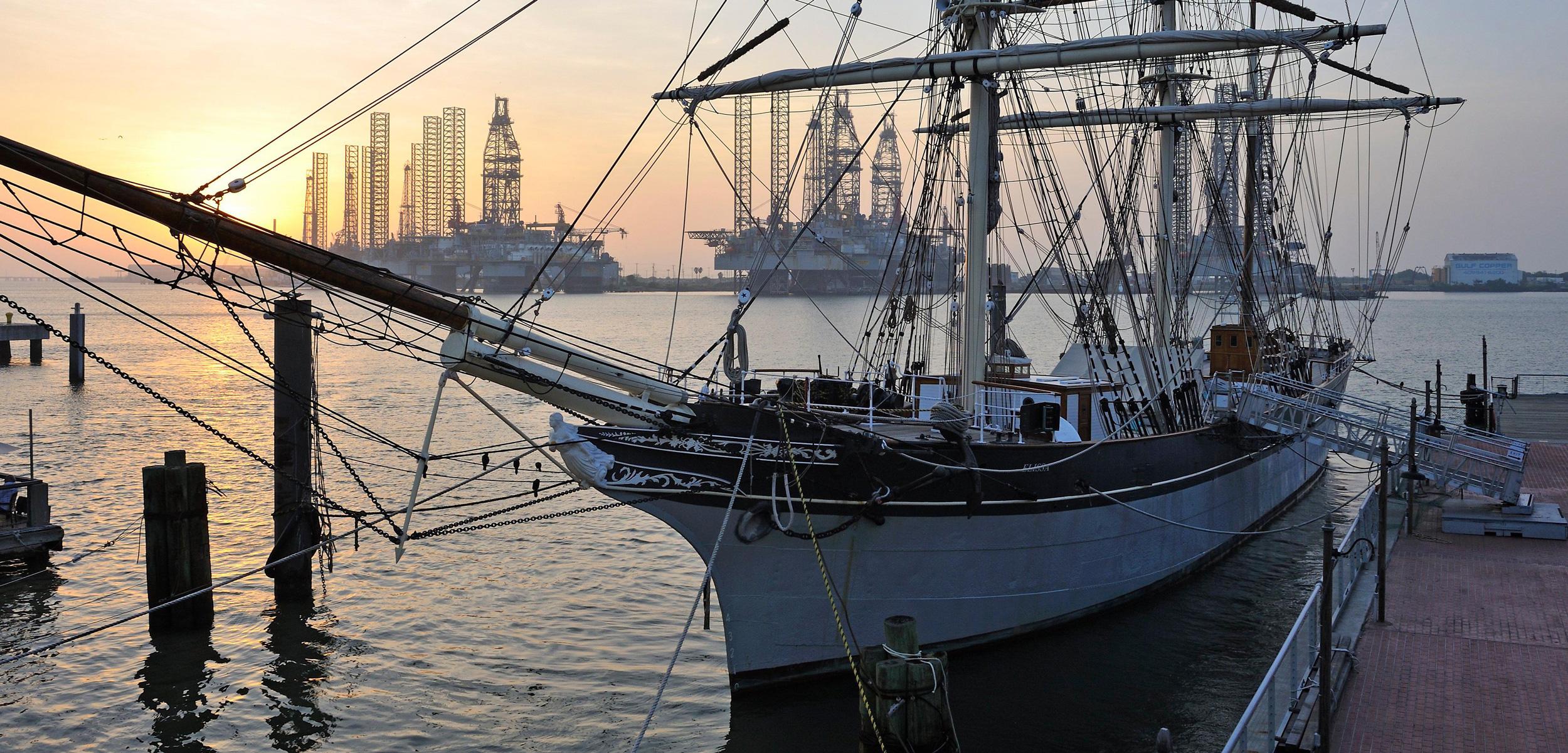 Tall ship Elissa moored in Port Galveston, Texas