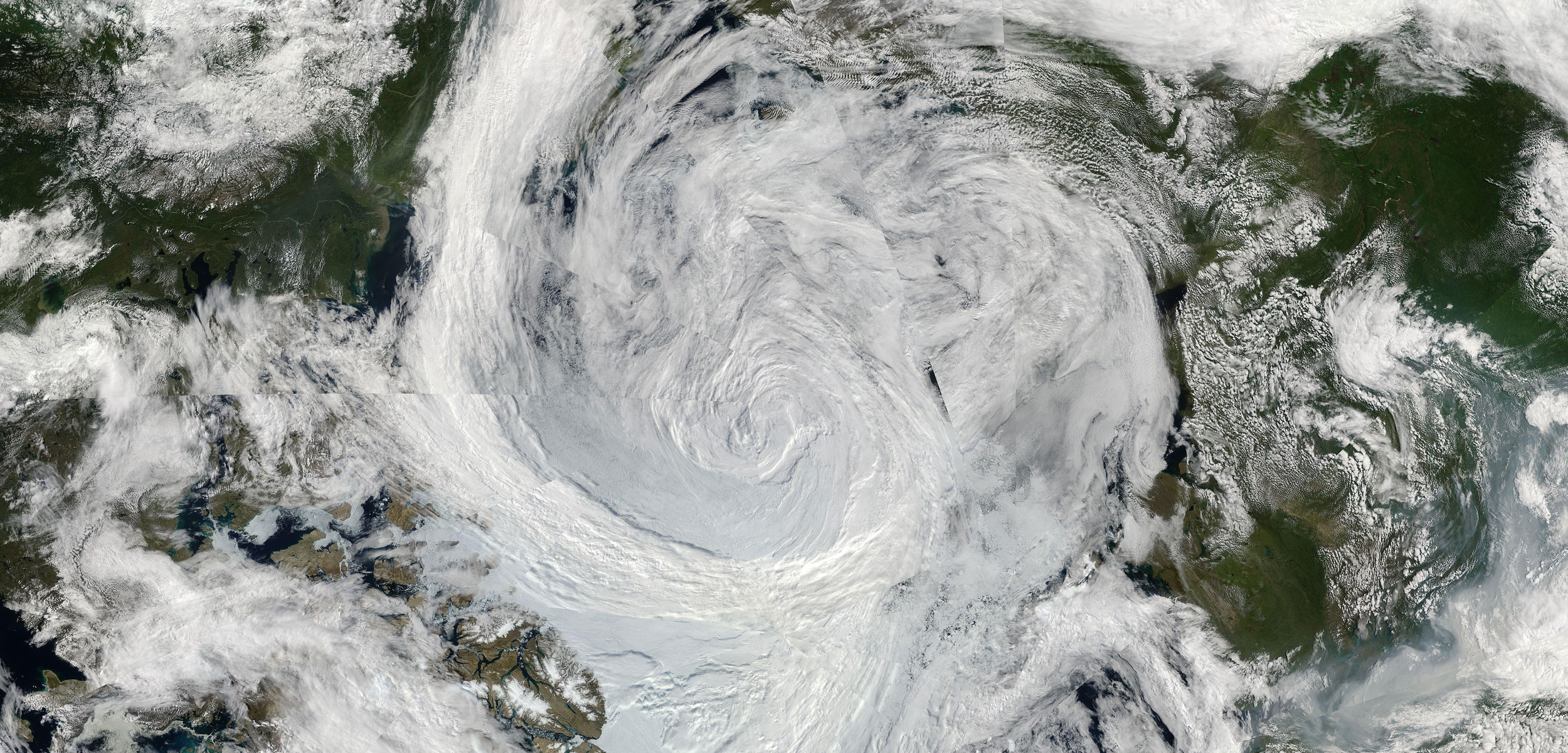 satellite photo of an arctic cyclone