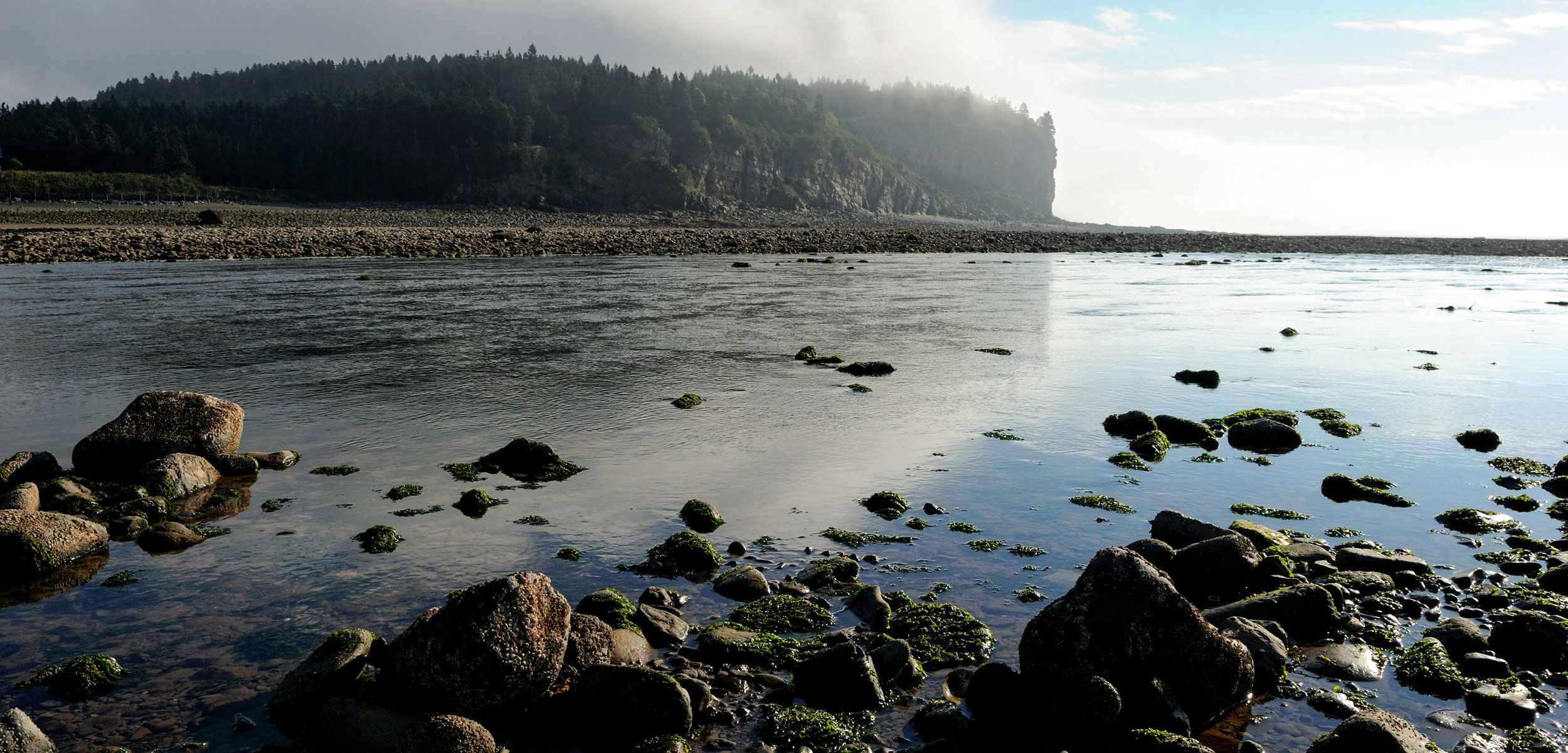 Upper Salmon river at outgoing tide and sunrise, Bay of Fundy