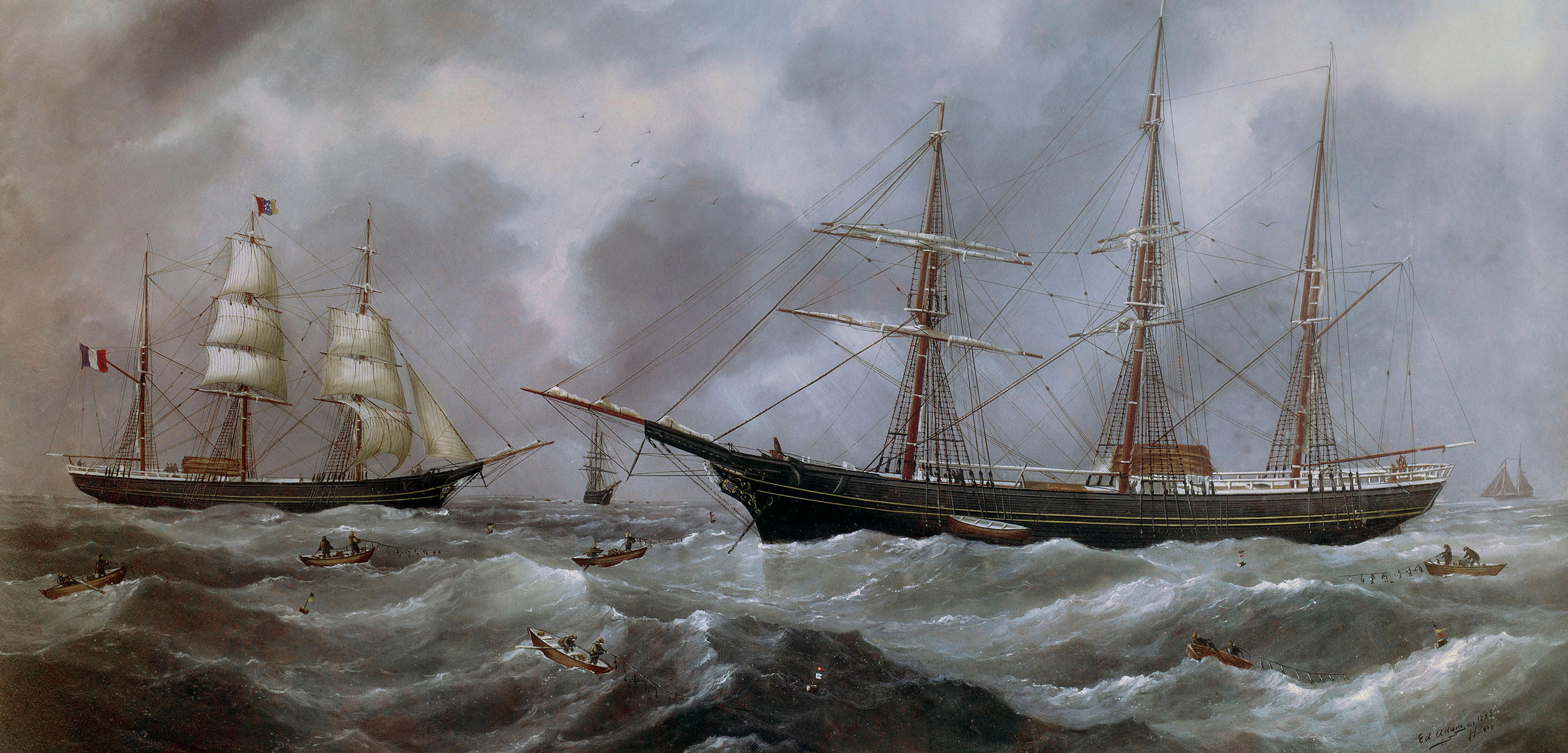 painting of fishing boats off Newfoundland