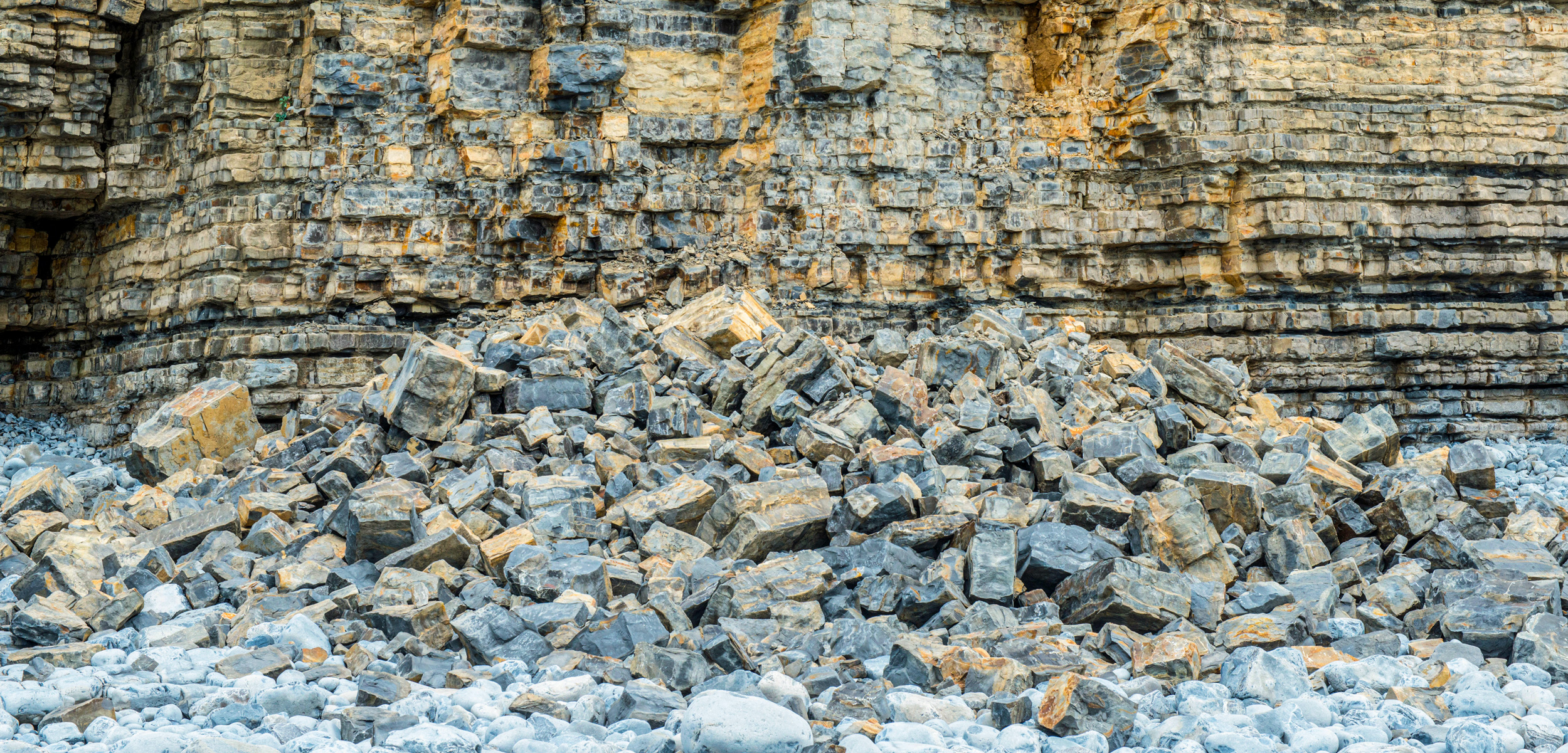 Rockfall at the Oolitic Limestone Cliffs on the Glamorgan Heritage Coast South Wales